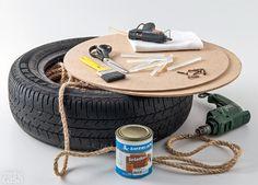 Você vai precisar de: pneu, MDF de 6 mm cortado em dois discos com 55 cm de diâmetro (Lojão do MDF), seis parafusos, furadeira com broca do tamanho do corpo do parafuso, chave de fenda ou Phillips, pistola de cola quente e dois pacotes com seis tubos de cola cada, 5 kg de corda de sisal natural torcida de 10 mm, pano, tesoura e pincel, seladora concentrada, da Sayerlack (900 ml).