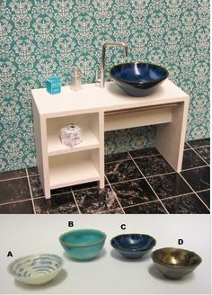 New Diy Bathroom Vanity Unit Vessel Sink Ideas Barbie Bathroom, Diy Bathroom Vanity, Miniature Kitchen, Miniature Crafts, Miniature Furniture, Dollhouse Furniture, Diy Barbie Furniture, Doll House Plans, Doll House Crafts