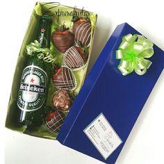 Chocolate covered strawberries and Heineken beer