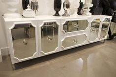 mirrored modern Hollywood Regency credenza. I NEED this in my kitchen asap. Oooh I want all my cabinets to look like this. glam.