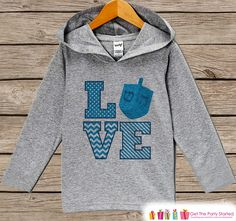 Kids Jewish Shirt - Dreidel LOVE Hanukkah Hoodie - Kids Hoodie Pullover - Hanukkah Shirt for Baby, Youth, Toddler - Jewish Baby Clothing