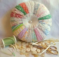 Old Quilt Pin Cushion Vintage Quilt Pin Cushion by Treadleberries