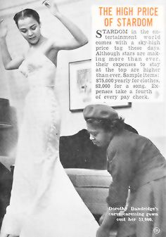 Dorothy Dandridge at a Dress Fitting - Hue Magazine October, 1954 by vieilles_annonces, via Flickr