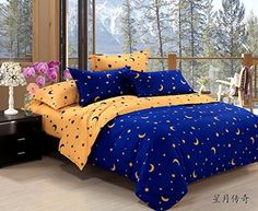 Lt Twin Full Queen Size Cotton Bedding Sets Blue and Yellow Starry Sky Moon Star Duvet Cover Sets Queen 4pcs without comforter * Read more reviews of the product by visiting the link on the image.