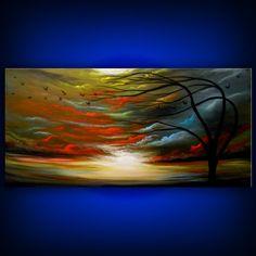 art original tree painting oil acrylic abstract by mattsart