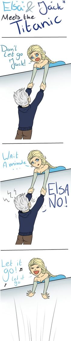 Jack and Elsa meets The Titanic xd Bad Comic iknow I was bored :Ssorry if this already been done Jack - DreamWorks Elsa - Disney Tumblr.