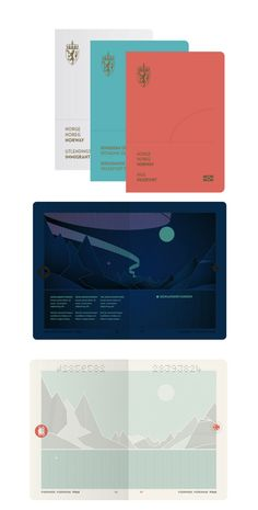 """Norway has a new passport, """"The Norwegian Landscape"""" designed by Neue Design Studio. The new passport includes an interior design that changes under UV light. Minimal Graphic Design, Graphic Design Print, Poster Design, Book Design, New Passport, Passport Travel, Travel Packing, Helmut Schmid, Norway News"""