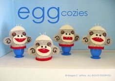 Funny monkeys,   Set of 4 Sock Monkey Egg Cozies by megillustrations on Etsy, $60.00