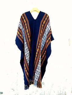 Vintage Mexican Poncho Oversized Blue Long Ethnic by HuntedFinds