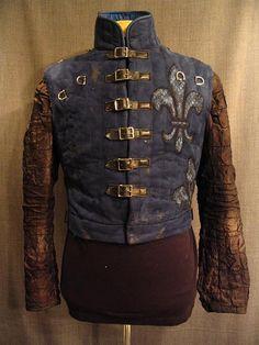 09021709 DOublet Men's Medieval, blue suede dk bronze silk sleeve, C38.JPG