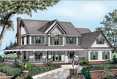Wrap-Around Porch - 6527RF | Country, Farmhouse, 2nd Floor Master Suite, Bonus Room, CAD Available, Den-Office-Library-Study, MBR Sitting Area, PDF, Unlimited Build License, Wrap Around Porch, Corner Lot | Architectural Designs