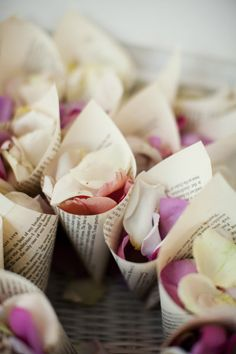 Rose petals to throw in cones made from pages of Love stories.