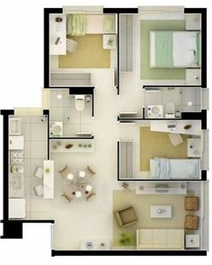 Get rid of the bedroom and make the living room bigger and add a laundry Model House Plan, Sims House Plans, House Layout Plans, Dream House Plans, Small House Plans, Minimalist House Design, Small House Design, Minimalist Home, Layouts Casa