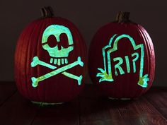 For a candleless decoration, use faux pumpkins, & cover interior & inside cut areas with glow-in-the-dark paint