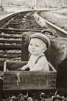 Subject: Baby Asher (Photographer/copyright Elise Aileen Photography. eliseaileen.com ) Baby photos. 6 Month pictures Baby Boy Train Tracks Vintage Mother Steampunk Victorian Edwardian Suspenders Hat Black and White Suitcase Trunk Ideas Creative Inspiration