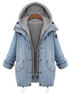 Zweiteiliger Jeans-Mantel mit Kapuze- German SheIn(Sheinside)