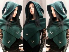 Witchy Outfit, Witchy Dress, Autumn Witch, Witch Photos, Pixie Outfit, Hooded Scarf, Outfits With Hats, Moon Child, Winter Cape