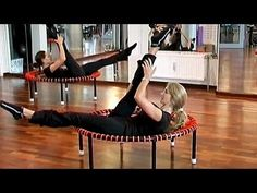Pilates workout with the bellicon, training on rebounder