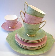 Vintage Tea Cup Trio, Royal Albert Gossamer Pattern c1960 Pink or Green, Marbled  with Gold Trim. Sandwich plate free with 4 tea cup trios. via Etsy