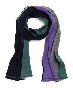 Merino Wool Reversible Color-Block Scarf