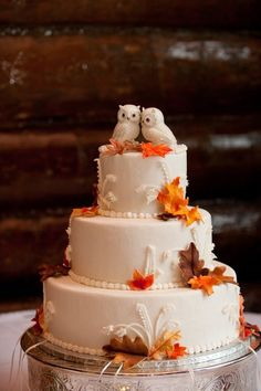 Creative Wedding Cake Topper Inspiration Ideas ★ wedding cake toppers cute owls and leaves-echo media photography Autumn Wedding Cakes, Elegant Wedding Cakes, Owl Wedding, Autumn Cake, Wedding Table, Spring Wedding, Autumn Weddings, Indian Weddings, Fall Wedding Themes