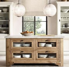 Restoration Hardware Salvaged Wood & Marble Kitchen Console Natural #kitchencabinets