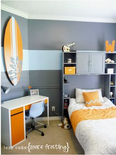 like the large stripe on wall. maybe blue with orange stripe.