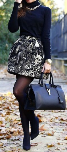 #fall #outfits / turtleneck knit + skirt