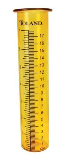 Toland Home Garden 220134 Replacement Rain Gauge Udometer, Amber by Toland Home Garden. $8.99. Measurements are in bold letters that won't fade and are easy to read. 8-Inch tall fits all standard Toland rain gauge products. Features measurements in-Inch and centimeters. Measures up to 7-Inch of rainfall. Replacement glass vial (udometer) for all standard sized Toland Home Garden rain gauge products. When accidents happen, replace the udometer (glass vial) in your ...
