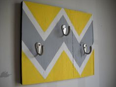 I need this for my room, except in mint and gray! CHEVRON pattern wall hook shabby chic cottage by ruralurbanliving, $32.00