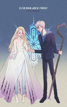 Disney Princess Fashion, Disney Princess Frozen, Disney Princess Drawings, Disney Princess Pictures, Disney Drawings, Elsa Anime, Anime Disney, Jack Y Elsa, Jack Frost And Elsa
