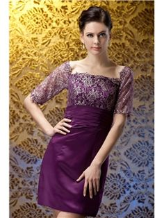 Elegant Lace Sheath/Column Suqare Short-length Polina's Mother of the Bride Dress