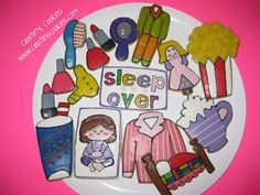 Sleep-Over / Pajama Party cookies for Arty McGoo from Cristin's Cookies Iced Cookies, Cupcake Cookies, Cupcakes, Slumber Parties, Sleepover, Cookie Crush, Girl Sleeping, Barbie Party, Pajama Party