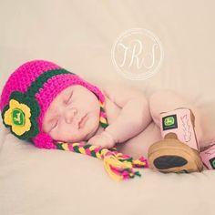 Crochet Pink or Purple John Deere Baby Girl Hat by gammyshouse, $20.00