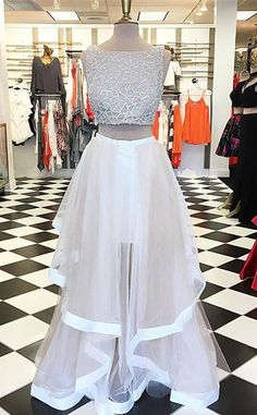 High Quality A-Line Ivory Prom Dress - Two Piece Bateau Asymmetry Beading