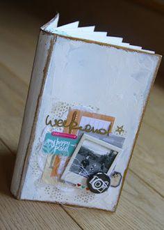 [C]lean [M]ag: Mini récup par Nathaly : vieux livre, gesso, modeling paste et patouille