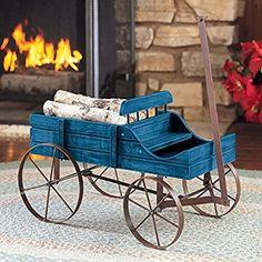Amish Wagon Decorative Indoor / Outdoor Garden Backyard Planter, Blue