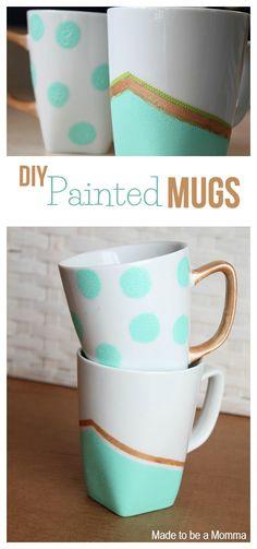 Diy Painted Mugs Collage