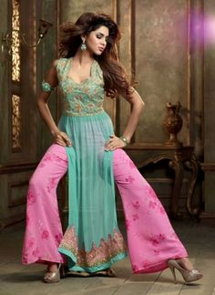 Fantastic Turquoise And Pink Faux Georgette With Work  Pakistani Suit http://www.angelnx.com/Salwar-Kameez/Pakistani-Suits