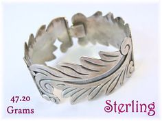 """Sterling Silver - 1 1/8"""" Wide Spiral Leaf Heavy Bracelet - 47.20 Grams - Mexican Mexico Signed MRV - Arizona Estate Antique - FREE SHIPPING by FindMeTreasures on Etsy"""