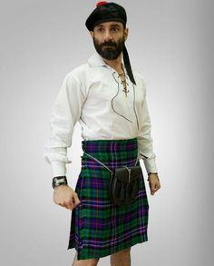 The Ferguson tartan colours are green, navy blue, black, red and white. You want a kilt that is more casual, able to be worn around town or with a semi-dress. #FergusonTartanKilt #FergusonTartan #Kilts #Scottishwearformen