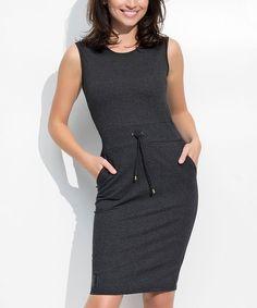 Graphite Melange Tie-Waist Sheath Dress