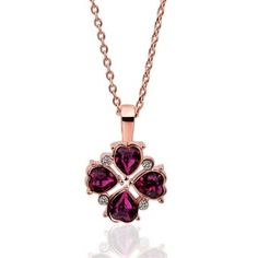 Clover Rose Gold Plated Swarovski Elements Necklace