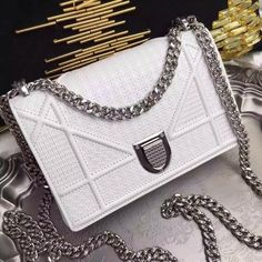 """Christian Dior DIORAMA SMALL """"DIORAMA"""" BAG WHITE PATENT CALFSKIN WITH """"MICRO-CANNAGE"""" MOTIF for sale at https://www.ccbellavita.eu/products/christian-diordiorama-small-diorama-bag-white-patent-calfskin-with-micro-cannage-motif"""