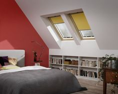 Fill your home with light by installing a Velux or Fakro roof window. Attic Master Bedroom, Attic Rooms, Attic Spaces, Bedroom Blinds, Tiny Living Rooms, House Blinds, Ideas Para Organizar, Roof Window, Kitchens And Bedrooms