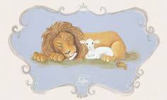 """Regal Lion & Lamb"" Custom Canvas Artwork For Baby's Nursery From Dish And Spoon Productions"