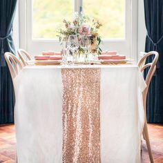 Rose Gold Sequin Table Runner Sparkly Rose Gold Sequin Runner for Wedding Party, Dinner Reception, Gift, Event, Bridal Shower, Bachelorette Party,