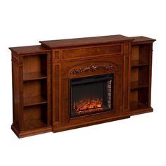 Southern Enterprises Chantilly Bookcase Electric Fireplace in Oak