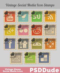 ] Social Media Icon Sets For Your Website Photography Articles, Portfolio Web Design, Vintage Stamps, Vintage Logos, Retro Logos, Social Media Icons, Icon Pack, Icon Set, Retro Vintage