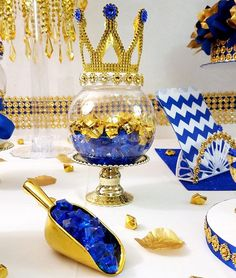 Royal Prince Baby Shower Candy Buffet Centerpiece / Oh Baby Baby Shower Cakes, Boy Baby Shower Themes, Baby Boy Shower, Baby Shower Gifts, Royalty Baby Shower, Mesas Para Baby Shower, Prince Birthday Party, Royal Blue And Gold, Blue Gold